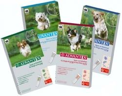 Pipetas Advantix frente a pulgas, garrapatas y piojos - Pipetas Advantix para el tratamiento y prevención de las infestaciones por pulgas, garrapatas y control de los piojos en perros. Envases de 4 pipetas. Para perros de diferentes pesos.