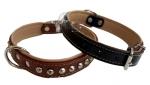 Collar de Cuero Forrado para perros - Collar de cuero forrado con adornos metálicos para perros medianos y grandes. Disponible en negro y en marrón.