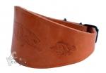 Collar de cuero grabado artesano para galgo - Collar de cuero natural grabado artesano para galgo, podencos y perros de cuello fino con doble cuero y con motivo grabado.
