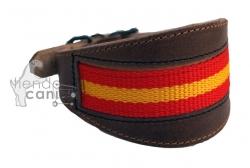 Collar de cuero bandera artesano para teckel y podenco - Collar de cuero para teckel y otros perros de razas pequeñas con cuello fino con bandera española incrustada. Talla única.
