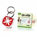 """Medalla """"Tic Clip"""" antiparasitaria de Anibio - Medalla """"Tic Clip"""" contra parásitos externos de Anibio. Protege contra garrapatas, pulgas, mosquitos, ácaros y piojos de la arena. Fabricado con una carga bioenergética que repele a los parásitos. Se puede poner en el collar y tiene una duración de hasta 2 años."""