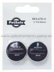 Pilas para Collares Antiladridos Petsafe Tipo 1 (RFA 67) - Pilas para Collares Antiladridos Petsafe: Bark Control, Silencer y Radio-Fence. Vienen en blisters de 2 pilas.