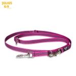 Ramal bandolera de goma entretejida rosa de Julius K9 - Ramal de adiestramiento para perros de goma entretejida de color rosa. Con doble mosquetón y varias posiciones.