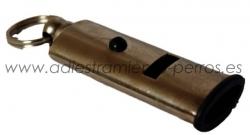 Silbato bitonal metalico plano - Silbato bitonal plano de metal. Un silbato para trabajo con perros sensibles o a distancias medio - cortas.