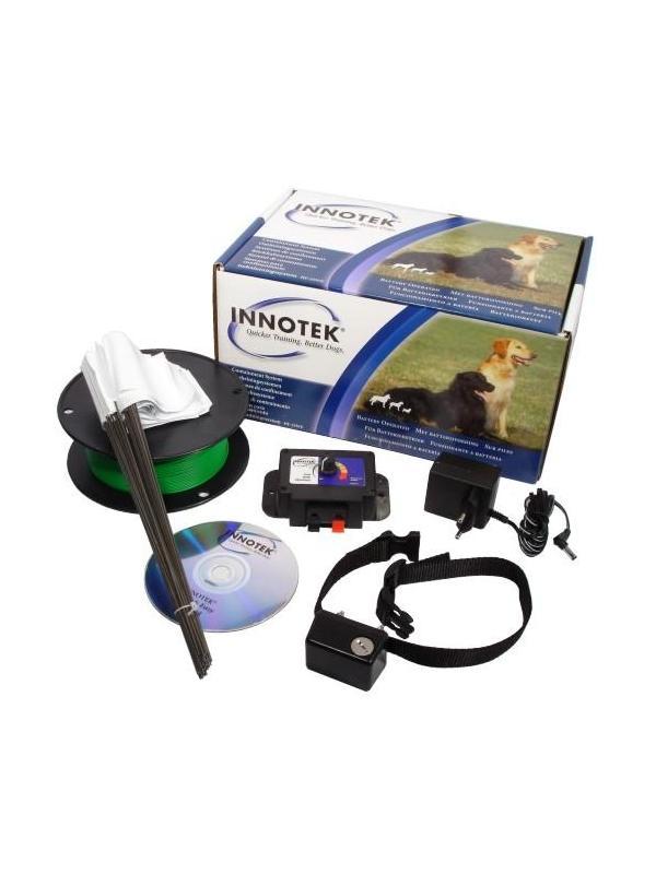 Kit completo de valla invisible Innotek 400m - Kit completo de valla invisible de la prestigiosa marca Innotek. Para delimitar la zona del perro o para evitar que se escape. El kit se compone de emisor, cable de 100m, banderitas, collar educativo, alimentador de red y CD con instrucciones para el uso. Apto para perros pequeños y medianos. Garantía de 2 años.