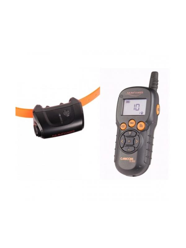 Collar de adiestramiento Canicom 5.500 - Collar de adiestramiento por impulsos Canicom 5.500. Puede usarse con uno o dos perros y alcanza una distancia de hasta 500 metros. Mando y collar funcionan con pila CR2. Tiene 15 niveles de impulso contínuo, botón booster, vibración y aviso sonoro.