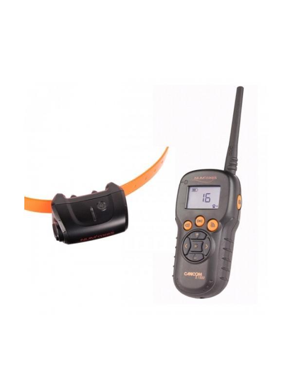 Collar de adiestramiento Canicom 5.1500 - Collar de adiestramiento Canicom 5.1500. Puede usarse con hasta cuatro perros a la vez y alcanza una distancia de hasta 1500 metros. El mando funciona con dos pilas alcalinas de 1.5V LR06 y el collar con una pila CR2. Tiene 25 niveles de impulso contínuo, botón booster, vibración y aviso sonoro.