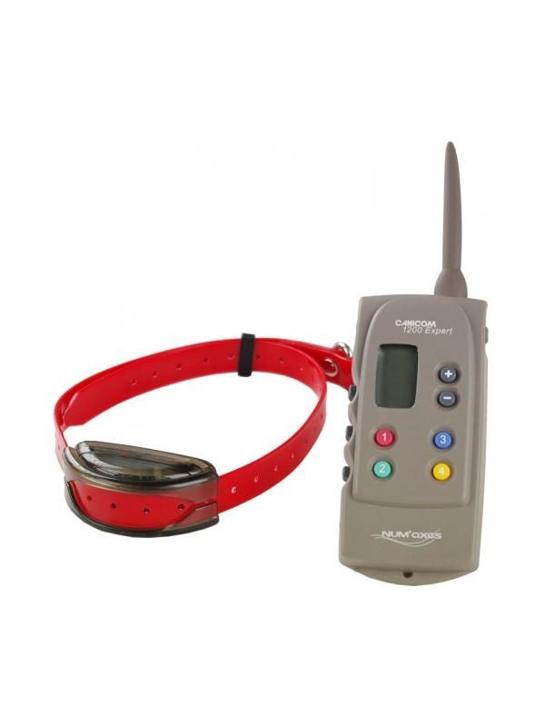 Collar de adiestramiento Canicom Expert 1200 - Collar de adiestramiento Canicom Expert 1200. Para usar con hasta 4 perros a la vez en una distancia máxima de 1200 metros. Collar con batería recargable y mando con pila de 3V CR2. Con 18 niveles de estimulación, aviso por vibración y botón Booster.