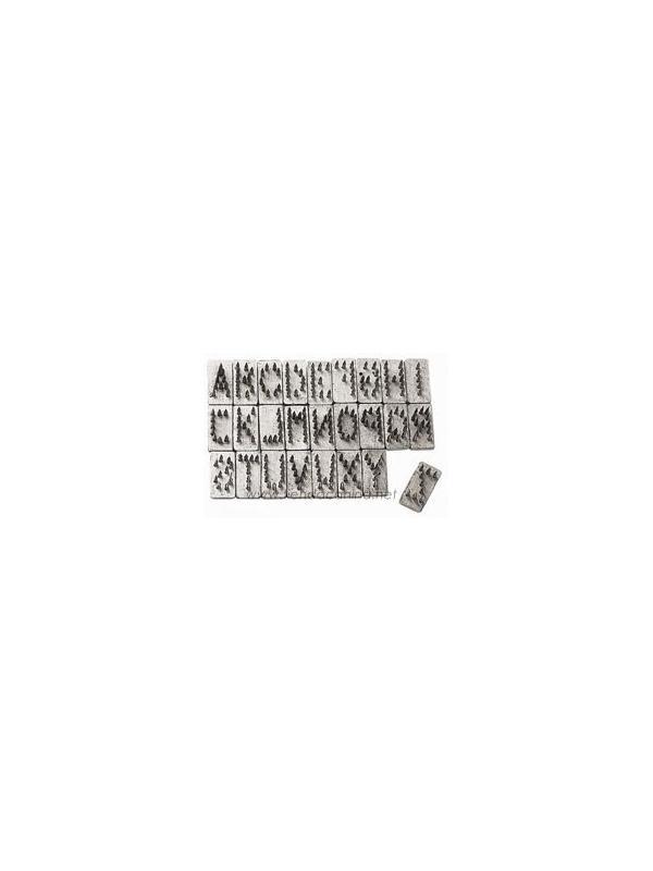 Alfabeto completo para Tatuadora profesional de 7 mm - Alfabeto completo para Tatuadora profesional Hauptner de 7 mm para perros. Cada letra está formada por una serie de agujas que penetran y forman el tatuaje.