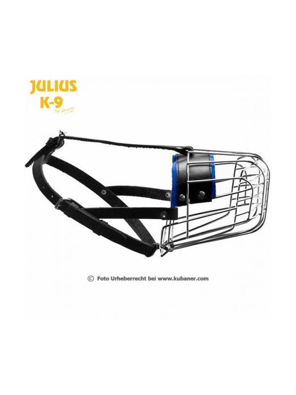 Bozal para pastor alemán metálico Julius K9  - Bozal para perro pastor alemán con la cesta de metal y la correas de cuero. Cinta con cierre de hebilla ajustable a la cabeza de perro. Disponible en dos tamaños.