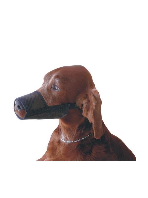 Bozal para perros de nylon fuerte  - Bozal para perros fabricado en nylon fuerte con malla flexible de plástico. Cinta con cierre fácil ajustable a la cabeza de perro. Varios tamaños disponibles para todo tipo de perros.