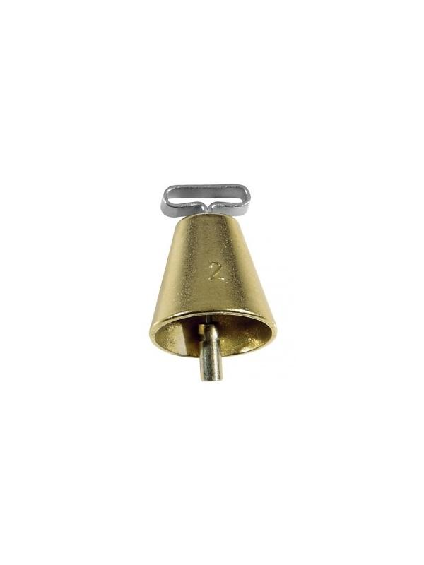 Campana de bronce con badajo de hierro - Campana de bronce con badajo de hierro y pasador para el collar. Emite un sonido muy audible en el monte. Cómodo de llevar para el perro. Resistente y de buena calidad. Disponible en dos tamaños.
