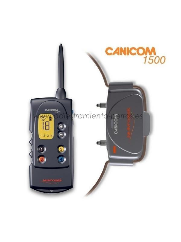 Collar Canicom 1500 con mando de adiestramiento para perros - Collar Canicom 1500 de adiestramiento con mando de pantalla LCD para perros, con 1500 metros de alcance, kit de 1 mando con 1 collar, puede llevar hasta 4 collares (disponibles en opción).