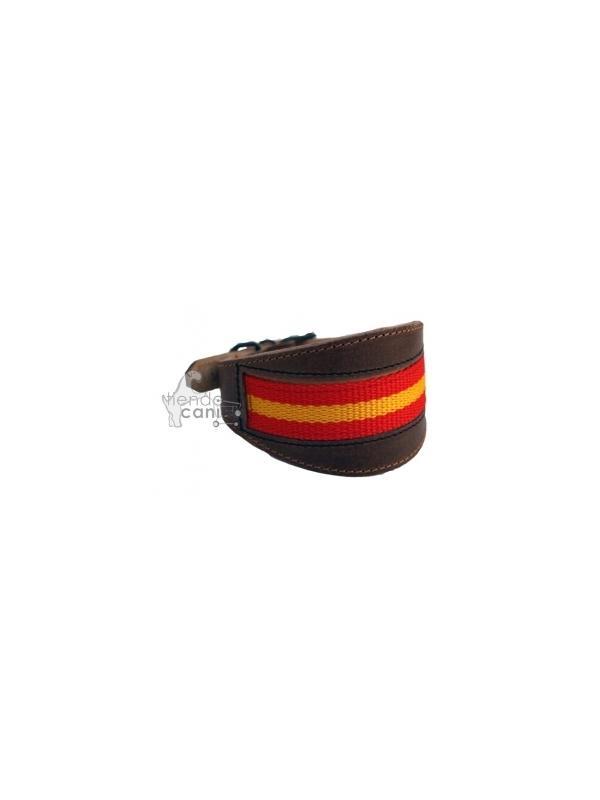 Collar de cuero bandera artesano para galgo