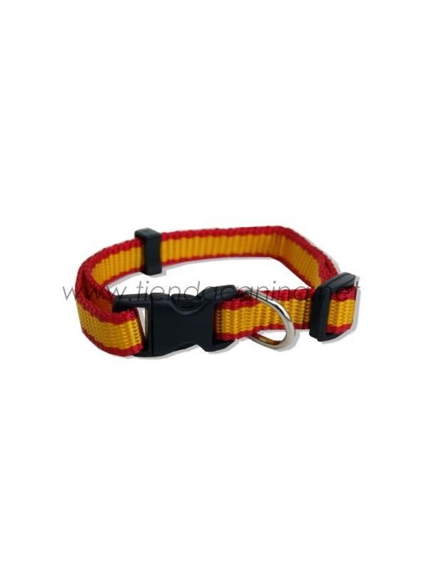 Collar de nylon bandera española con cierre fácil - Collar de nylon para perros con motivo bandera española con cierre fácil disponible en varias tallas. Para perros de todos los tamaños.