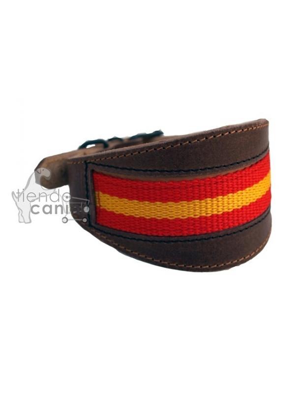 Collar de cuero bandera artesano para teckel y podenco