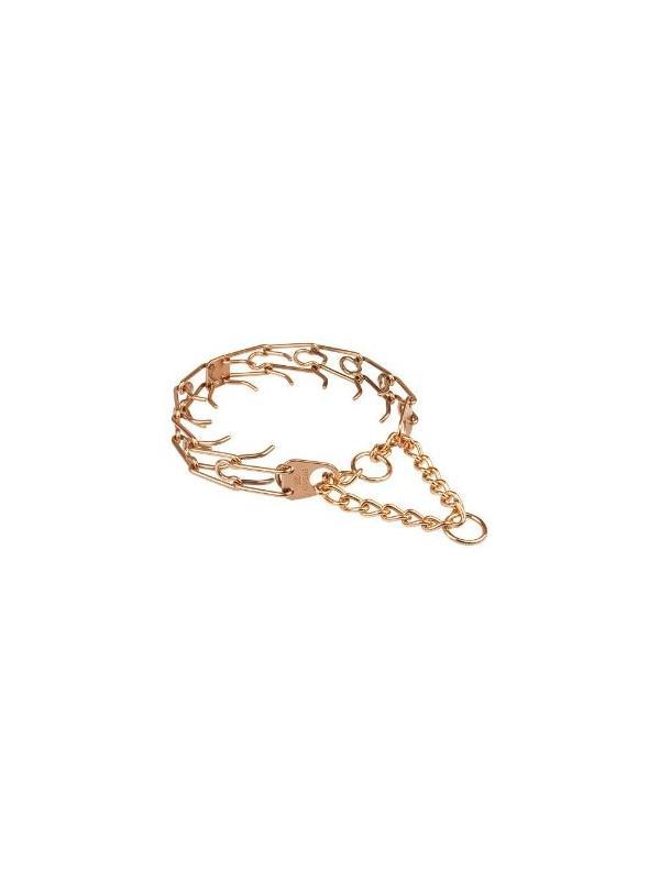 Collar metálico adiestramiento Ultra-Plus Sprenger - Curogan dorado - Collar metálico de castigo y adiestramiento Ultra Plus de la prestigiosa marca Sprenger elaborado en curogan. Dispone de una nueva placa central que sincroniza los eslabones para equilibrar la presión. Fabricado en curogan dorado, que no destiñe y es anti-alérgico.