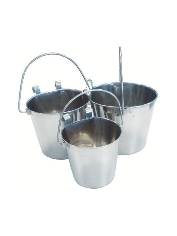 Cubo Bebedero de acero inoxidable para colgar - Cubo Bebedero de acero inoxidable brillante. Con enganche para colgarlos de las jaulas. No se vuelcan. Sustituyen a los comederos de pared y a los comederos elevados. Varios tamaños disponibles.