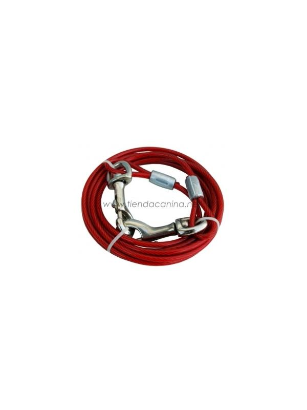Amarre de jardín en cable de acero - Amarre de jardín en cable de acero forrado de plástico, con mosquetones en los extremos, para dejar libertad a su perro en el jardín.