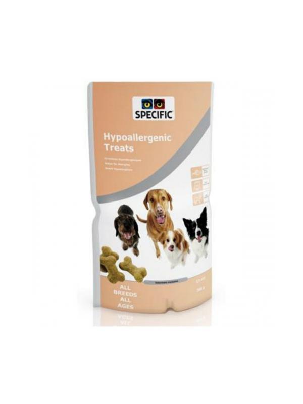 Golosinas para perros alérgicos Specific Healthy Treats - Snacks para perros alérgicos. Formulado a base de arroz y salmón para perros con el estómago delicado y con tendencia a padecer alergias alimentarias.