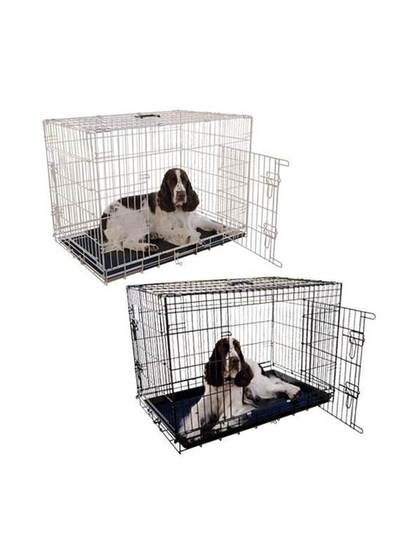 Jaula metálica para perros plegable y económica con bandeja ABS - Jaula metálica para perros plegable y económica con bandeja ABS, robusta y muy segura. Diseñada para perros de todos los tamaños. Disponible en color negro.