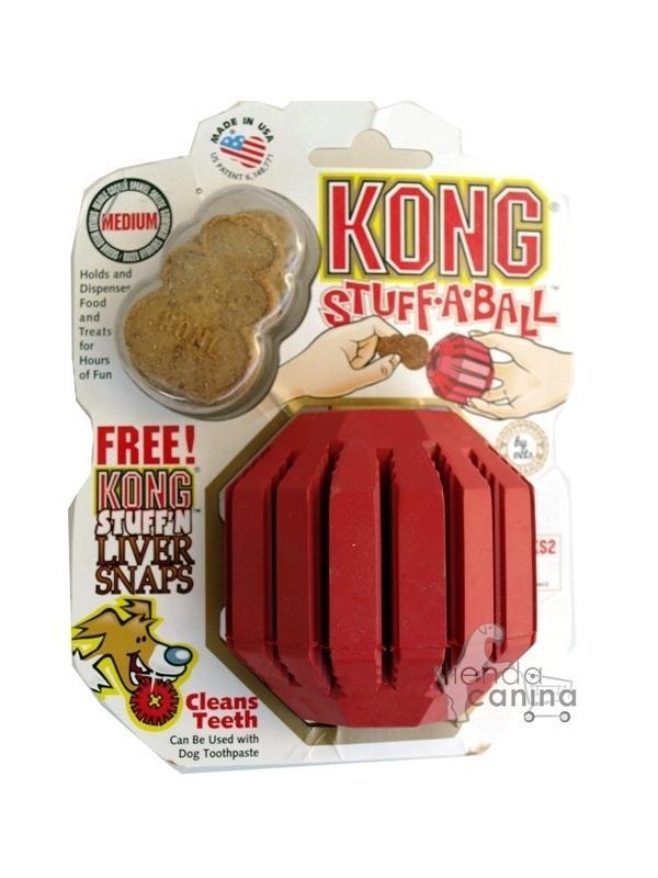 Juguete Kong Stuff-a-Ball educativo y de entretenimiento - Juguete Kong Stuff-a-Ball educativo y de entretenimiento. Divertido juguete con ranuras que mantendrá entretenido a tu perro durante tu ausencia.