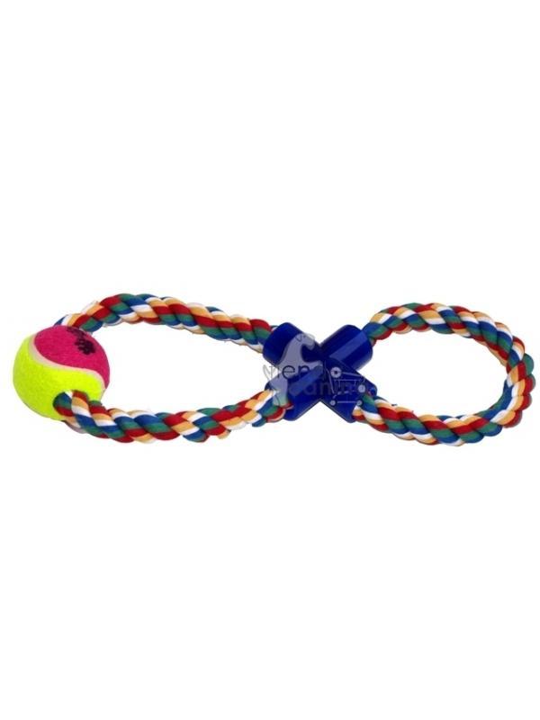 Juguete mordedor en Aro de Cuerda en 8 con pelota - Juguete mordedor en forma de aro en 8 de cuerda dental con pelota. Especial para perros de razas medianas y grandes.