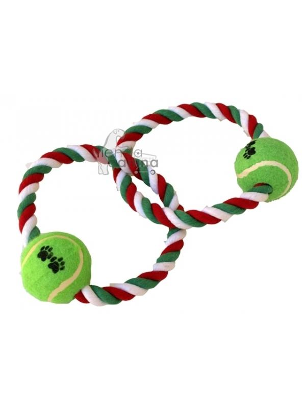 Juguete mordedor de cuerda con 2 aros entrelazados con pelota