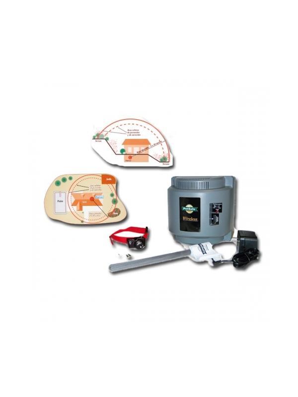 Kit limitador de zona exterior sin cables Petsafe - Kit limitador de zona sin cables. El emisor portátil emite una señal de radio esférica regulable para evitar que el perro se salga de un perímetro concreto. El collar receptor funciona con pilas RFA-67.