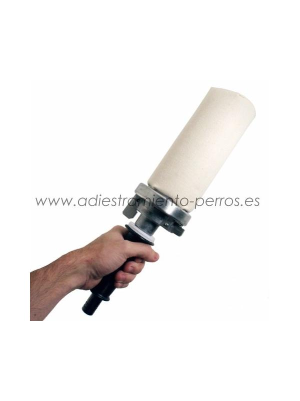 Lanzador de aports con 1 señuelo - Lanzador de señuelos para el entrenamiento de perros de muestra, retriever y springer. Incorpora un señuelo de lona.