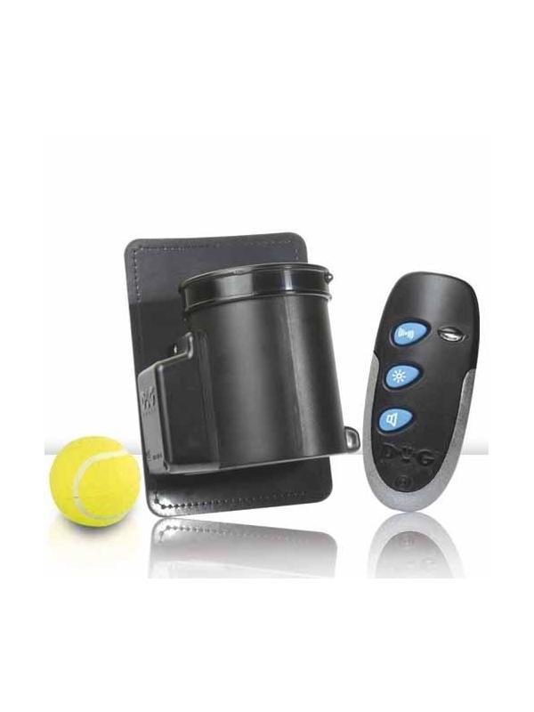 Lanzador de pelotas mini con mando para perros - Lanzador mini de pelotas con mando. Para colocar en el punto exacto en el que se le quiere reforzar al perro. Ideal para perros de deporte, detectores, etc. Manejable hasta 10 metros de distancia, almacena 1 pelota y se puede emitir pitido también.