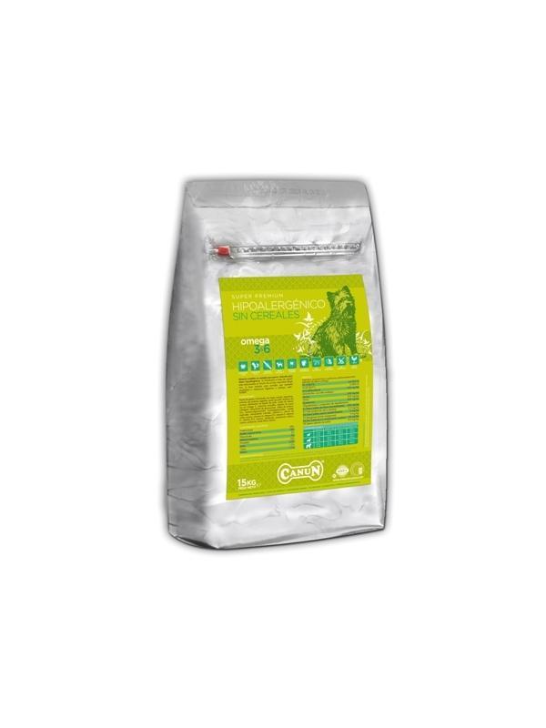 Pienso Canun Superpremium Hipoalergénico sin cereales - Pienso para perros de la marca Canun Super Premium Hipoalergénico, ideal para perros con sensibilidad digestiva o intolerancias. Disponible en sacos de 3 y 15 kg.
