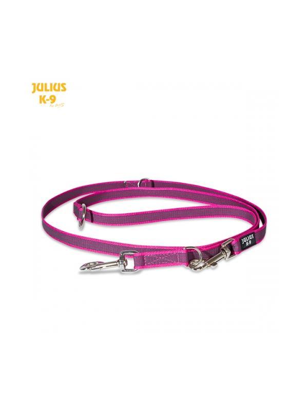 Ramal bandolera de goma entretejida rosa de Julius K9